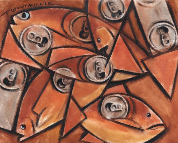 Fish Poster featuring the painting Tommervik Fish and Cans Art print by Tommervik
