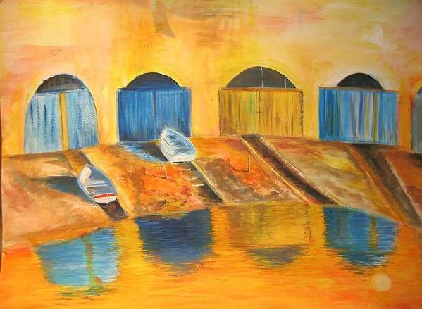 Boats Poster featuring the painting Fishermens Boats At Sundown by Lizzy Forrester