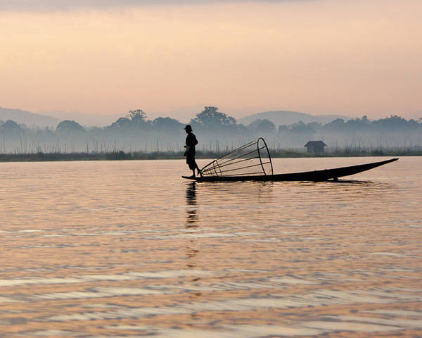 Asia Poster featuring the photograph Fishing At Dawn by Michele Burgess