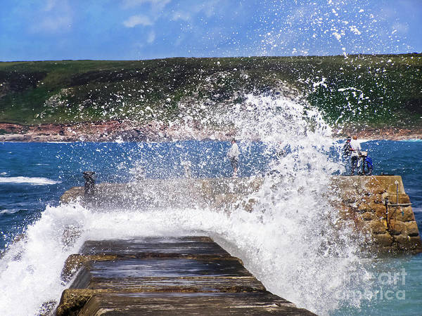 Sennen Cove Poster featuring the photograph Fishing Beyond The Surf by Terri Waters
