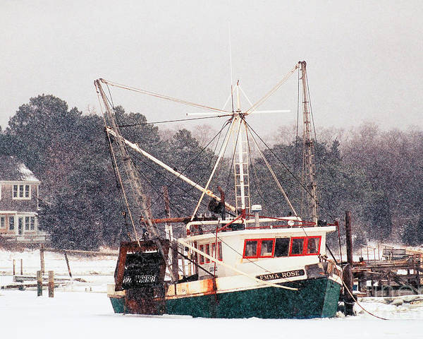 Fishing Boat Poster featuring the photograph Fishing Boat Emma Rose In Winter Cape Cod by Matt Suess