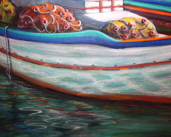 Boat Poster featuring the painting Fishing Boatgreek by Yvonne Ayoub