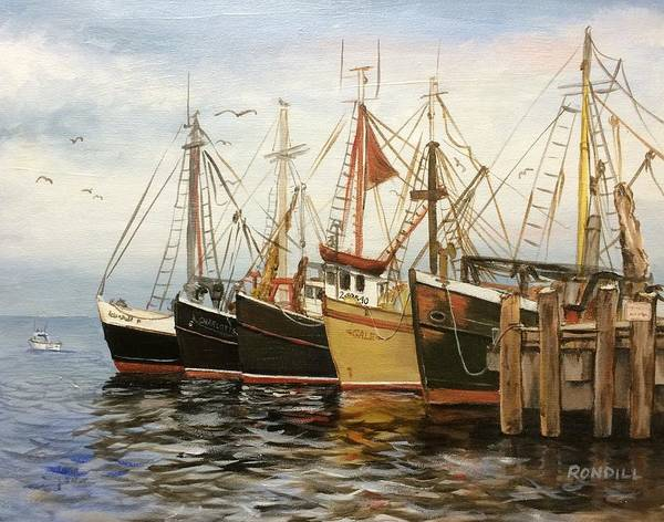 Poster featuring the painting Fishing Boats At Hh by Ronald Dill