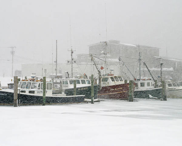 Winter Poster featuring the photograph Fishing Boats During Winter Storm Sandwich Cape Cod by Matt Suess