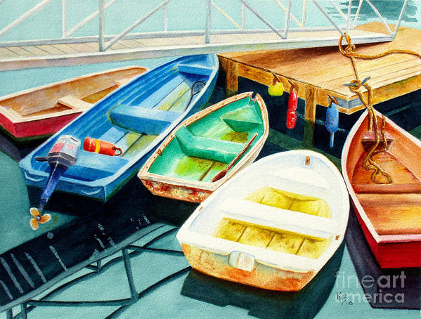 Fishing Poster featuring the painting Fishing Boats by Karen Fleschler