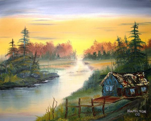 Oil Poster featuring the painting Fishing Cabin At Sunrise by Larry Hamilton