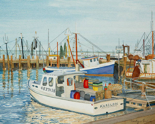Boat Poster featuring the painting Fishing Pier by Carolynn Fischel