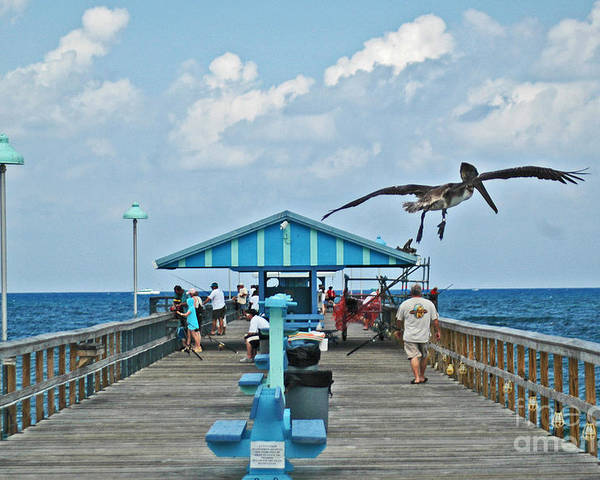 Fishing Pier Poster featuring the photograph Fishing Pier With Flying Pelican by Allan Einhorn