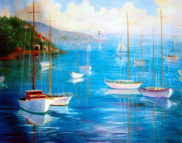 White Fishing Boats Poster featuring the painting Fishing Port by Jeanene Stein