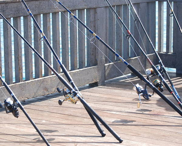 Pier Poster featuring the photograph Fishing Rods by Rob Hans