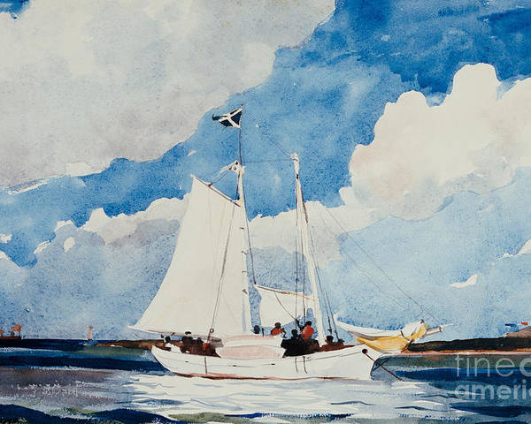 Boat Poster featuring the painting Fishing Schooner In Nassau by Winslow Homer