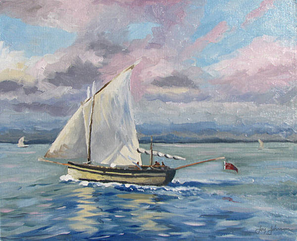 Sailing The Channel Poster featuring the painting Fishing The Channel by Jay Johnson