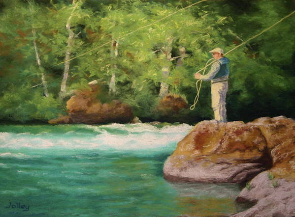 People Poster featuring the painting Fishing The Umpqua by Nancy Jolley