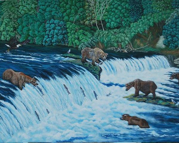 Waterfalls With Brown Grizzly Bears Poster featuring the painting Fishing With A Style by Lumami Dumapat