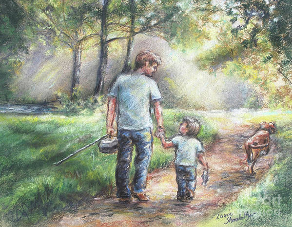 Fishing Poster featuring the painting Fishing With My Dad by Laurie Shanholtzer