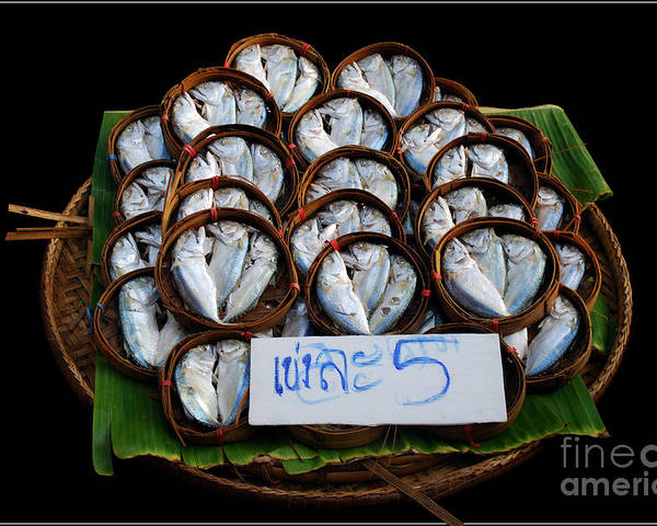 Fish Banana Leaf Thailand Culture Color Bamboo Bucket Poster featuring the photograph Fishs In Three by Ty Lee