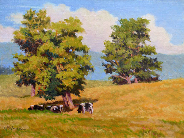 Landscape Poster featuring the painting Five Oaks by Keith Burgess