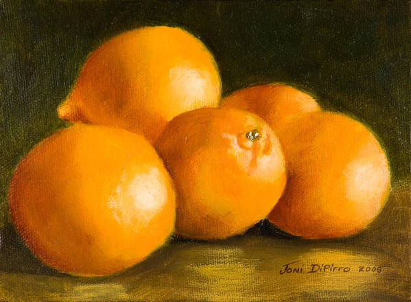 Fruit Poster featuring the painting Five Oranges by Joni Dipirro