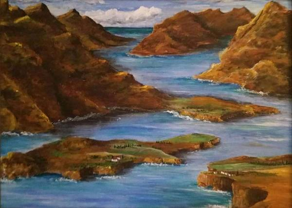 Poster featuring the painting Fjords Of Norwary by Jan Marie