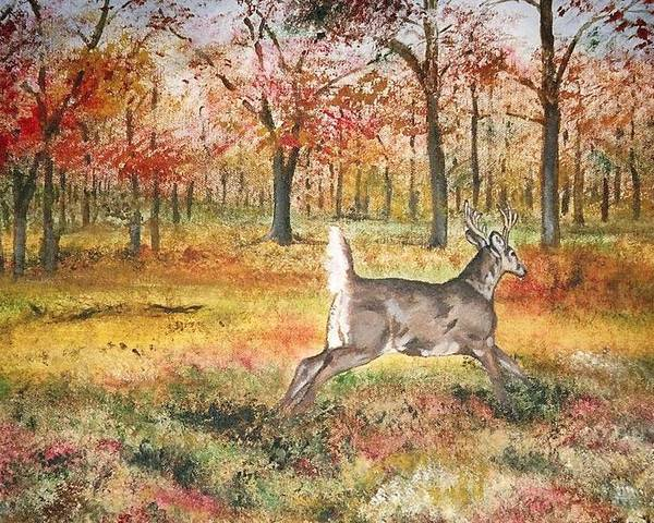 Fall Colors Poster featuring the painting Flag by Debra Sandstrom
