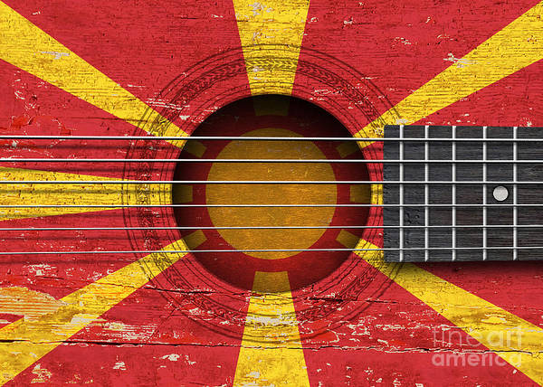 Acoustic Guitar Poster featuring the digital art Flag Of Macedonia On An Old Vintage Acoustic Guitar by Jeff Bartels