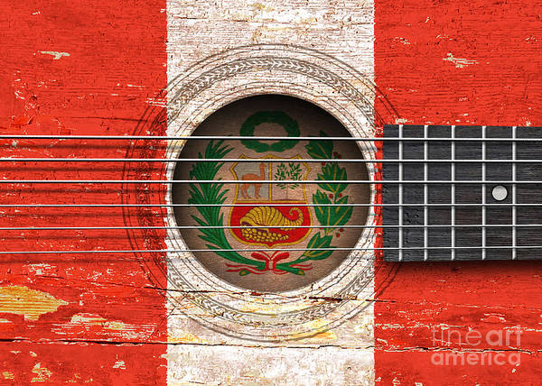 Acoustic Guitar Poster featuring the digital art Flag Of Peru On An Old Vintage Acoustic Guitar by Jeff Bartels