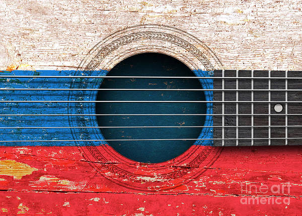 Acoustic Guitar Poster featuring the digital art Flag Of Russia On An Old Vintage Acoustic Guitar by Jeff Bartels