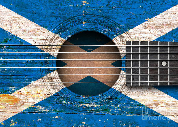 Acoustic Guitar Poster featuring the digital art Flag Of Scotland On An Old Vintage Acoustic Guitar by Jeff Bartels