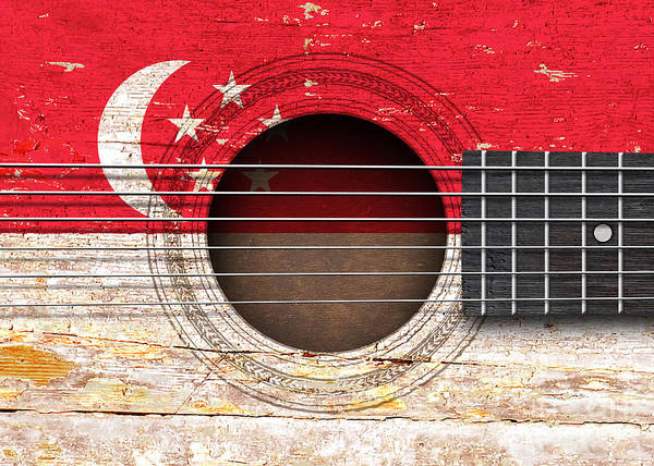 Acoustic Guitar Poster featuring the digital art Flag Of Singapore On An Old Vintage Acoustic Guitar by Jeff Bartels