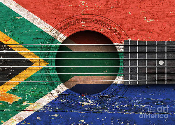 Acoustic Guitar Poster featuring the digital art Flag Of South Africa On An Old Vintage Acoustic Guitar by Jeff Bartels