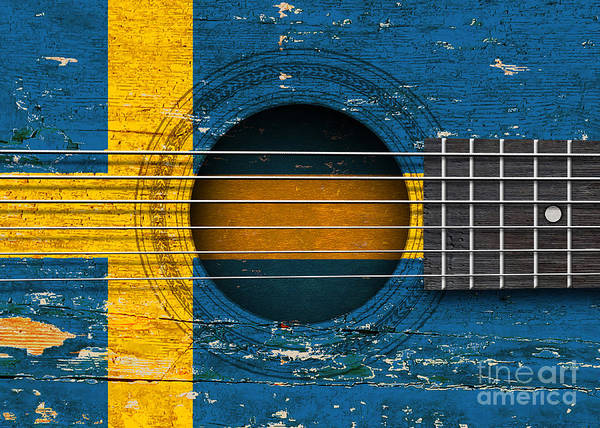 Acoustic Guitar Poster featuring the digital art Flag Of Sweden On An Old Vintage Acoustic Guitar by Jeff Bartels