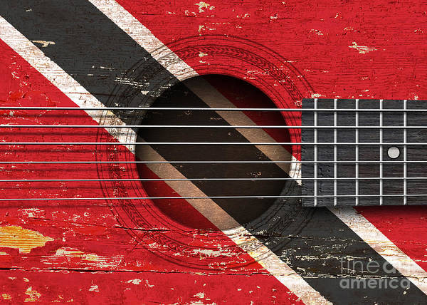 Acoustic Guitar Poster featuring the digital art Flag Of Trinidad And Tobago On An Old Vintage Acoustic Guitar by Jeff Bartels