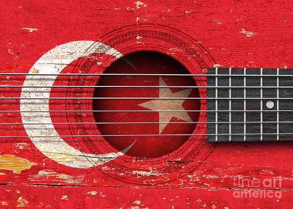 Acoustic Guitar Poster featuring the digital art Flag Of Turkey On An Old Vintage Acoustic Guitar by Jeff Bartels