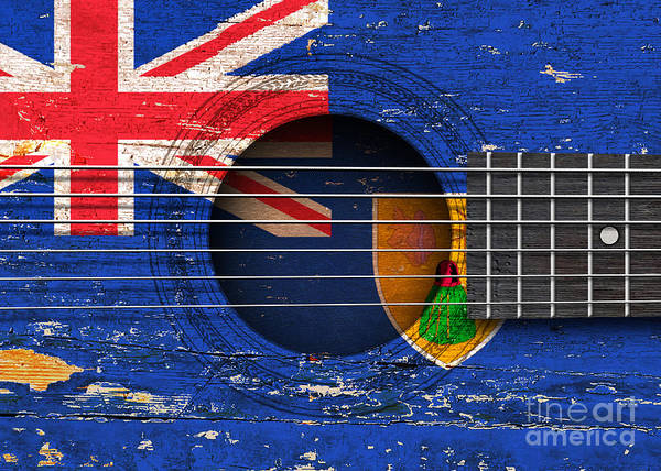 Acoustic Guitar Poster featuring the digital art Flag Of Turks And Caicos On An Old Vintage Acoustic Guitar by Jeff Bartels