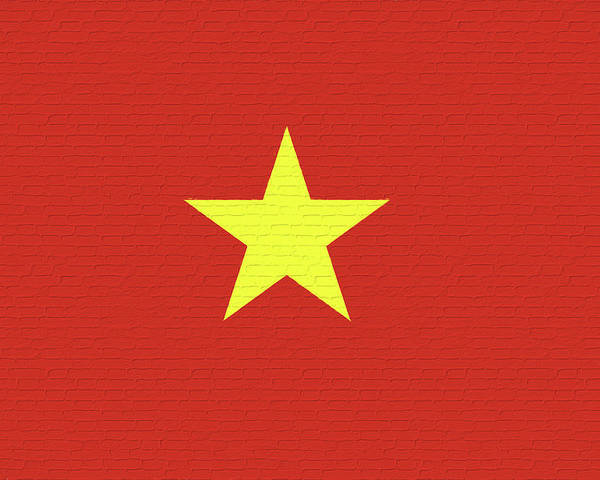 Asia Poster featuring the digital art Flag Of Vietnam Wall by Roy Pedersen