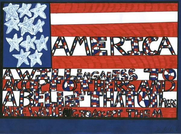 Darrell Black Poster featuring the drawing Flag One by Darrell Black