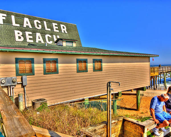 Flagler Beach Poster featuring the photograph Flagler Pier Postcard by Andrew Armstrong - Mad Lab Images