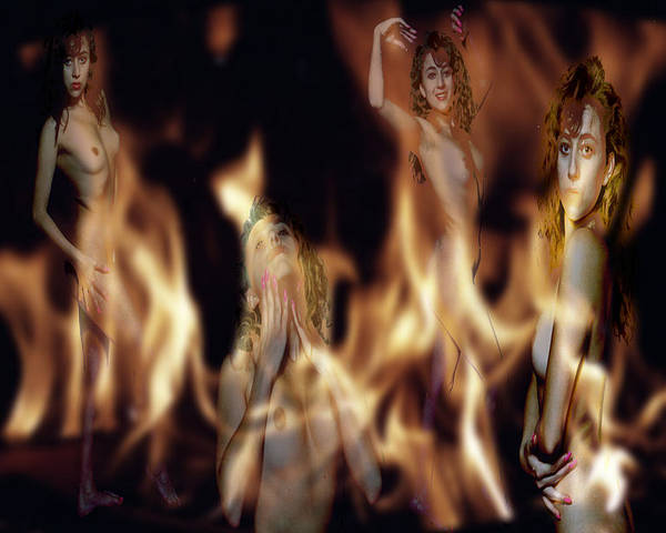 Multiple Exposure Of Model And Flames Poster featuring the photograph Flame Nymphs by Richard Henne