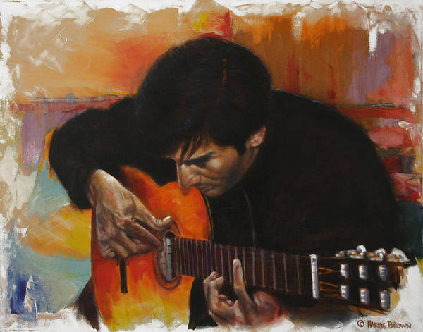 Guitar Poster featuring the painting Flamenco Guitar Player by Harvie Brown