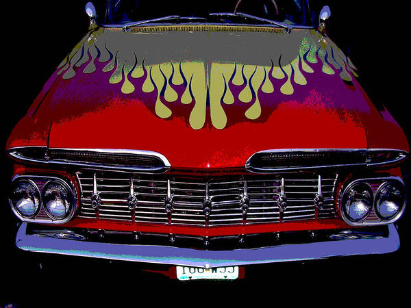 Car Poster featuring the photograph Flames by Audrey Venute