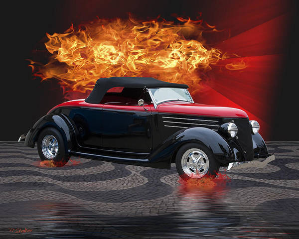 Hotrod Poster featuring the digital art Flamin' by Patricia Stalter