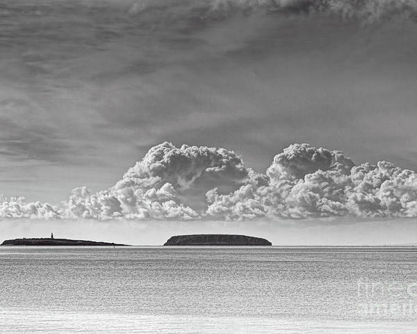 Flat Holm Poster featuring the photograph Flat Holm And Steep Holm Mono by Steve Purnell