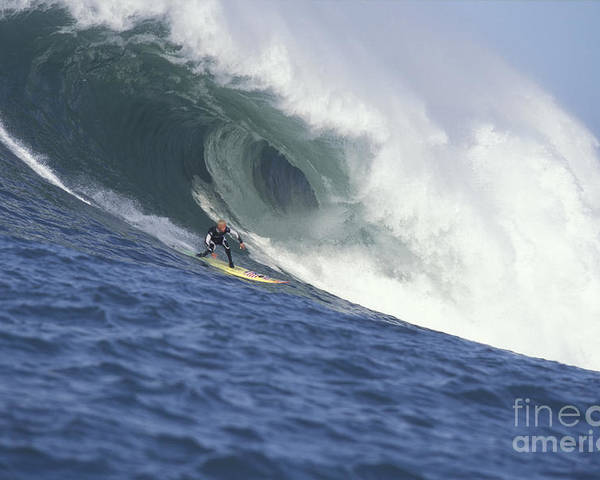 Mavericks Poster featuring the photograph Flea On A Mavericks Giant by Stan and Anne Foster