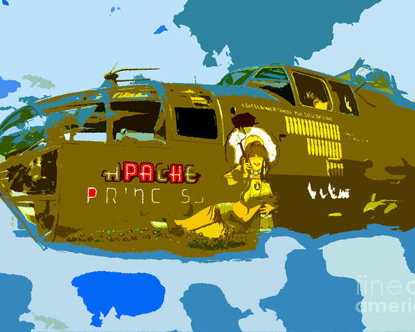 Bomber Poster featuring the painting Flight Of The Apache Princess by David Lee Thompson