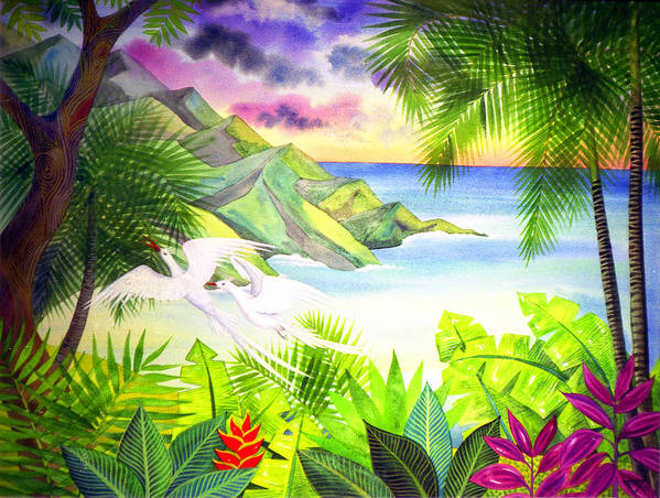 Birds Jungle Sunset Sea Tropical Forest Poster featuring the painting Flight Of The Red Billed Tropic Birds by Jennifer Baird
