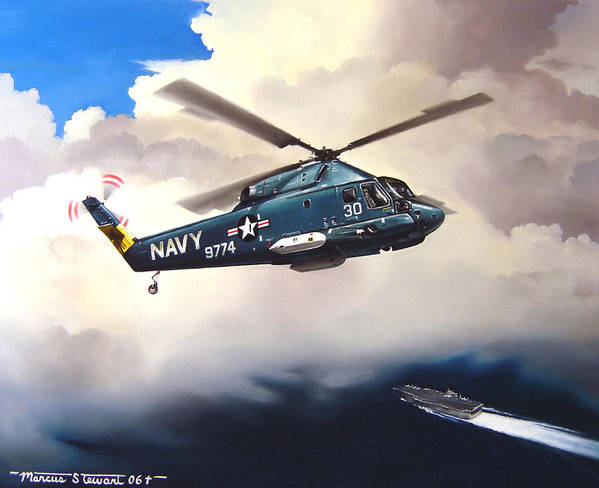 Military Poster featuring the painting Flight Of The Seasprite by Marc Stewart