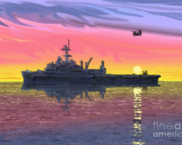 Uss Juneau Poster featuring the photograph Flight Ops At Sunset by Donald Maier