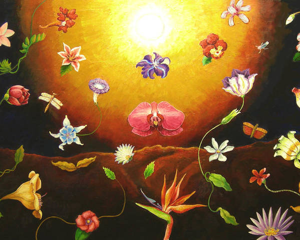 Poster featuring the painting Flor Nocturna by Paul Sierra