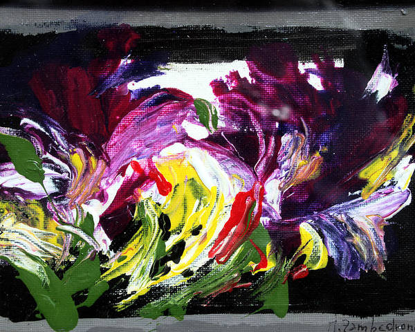Abstract Poster featuring the painting Floral Flow by Mario Zampedroni