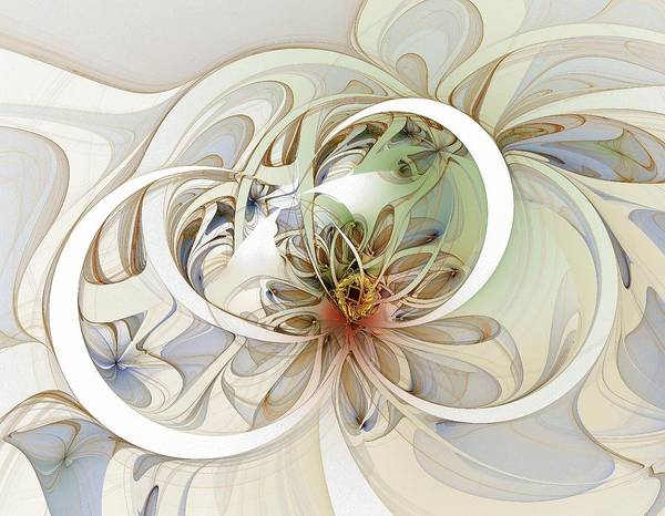 Digital Art Poster featuring the digital art Floral Swirls by Amanda Moore